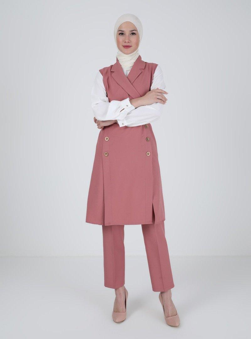 AYŞE MELEK TASARIM Somon Ceket Yaka Tunik & Pantolon İkili Abiye Takım