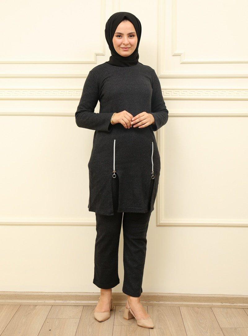 Moda Dua Antrasit Tunik & Pantolon İkili Takım