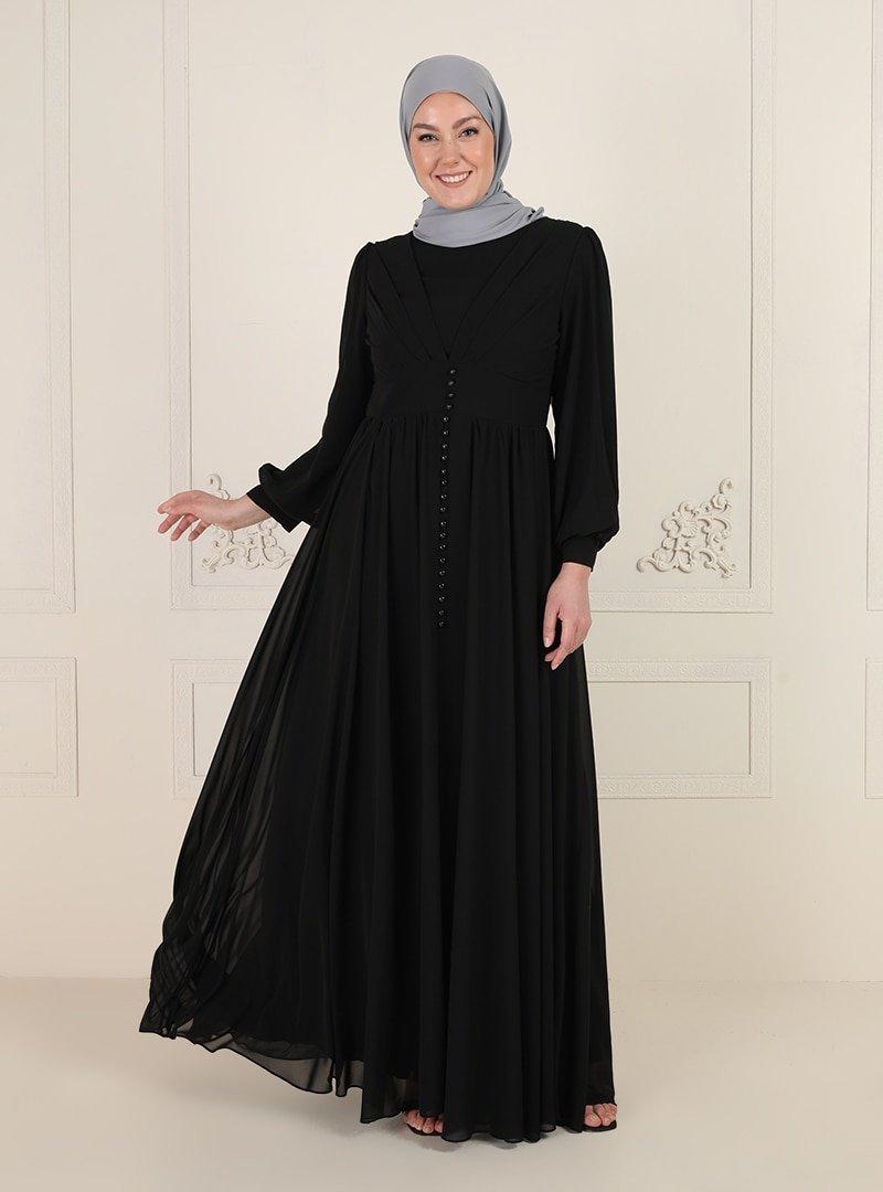 MODAYSA Siyah Düğmeli Abiye Elbise