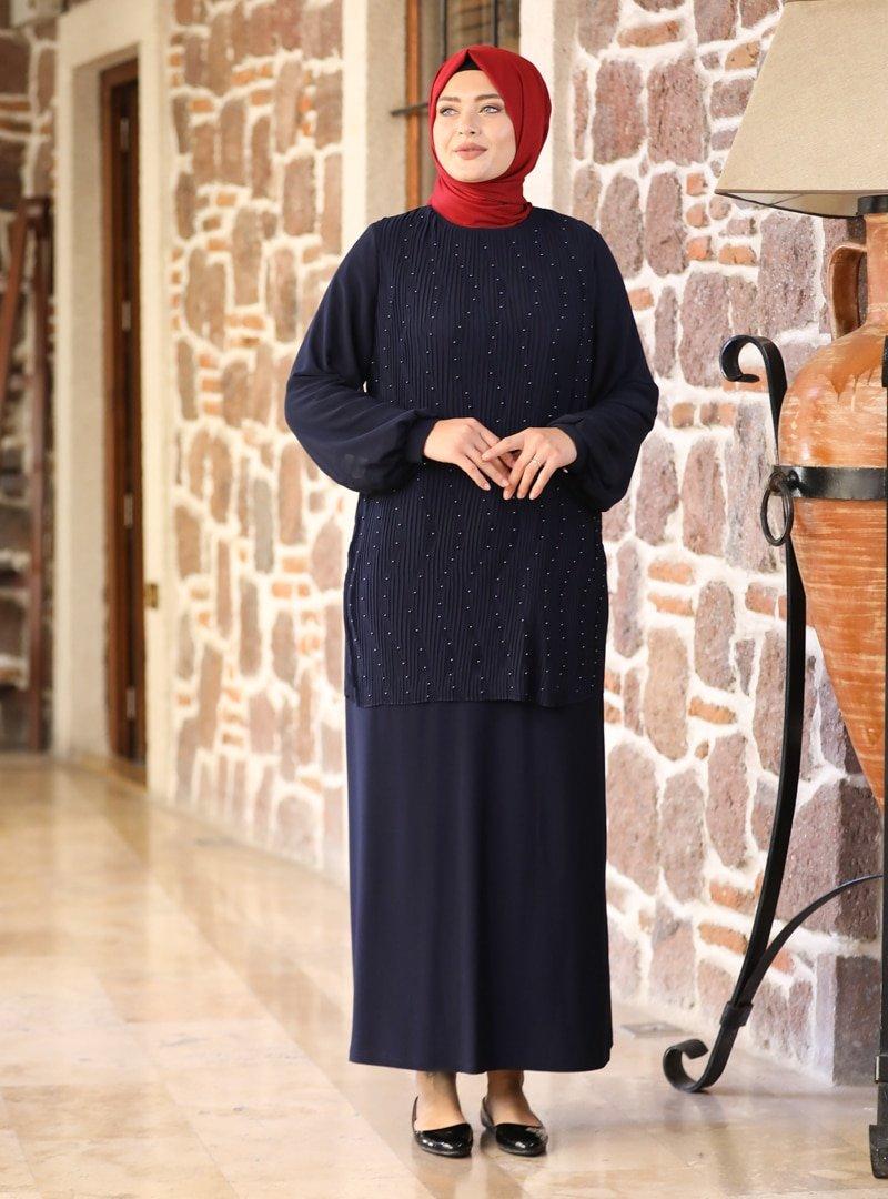 Amine Hüma Lacivert Aybike Abiye Elbise