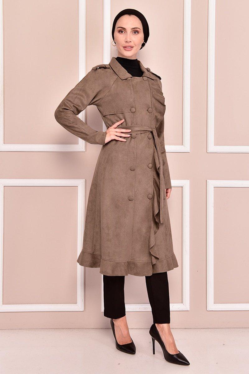 Moda Merve Kahverengi Süet Kap