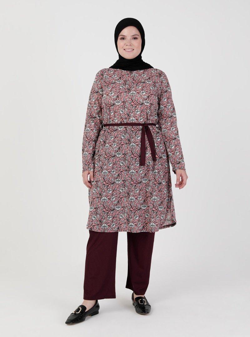 GELİNCE Pudra Tunik & Pantolon İkili Takım