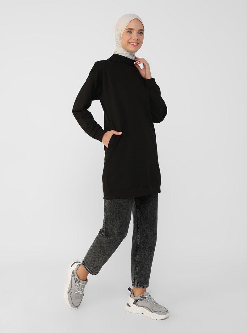Refka Siyah Gizli Cepli Kapüşonlu Sweatshirt
