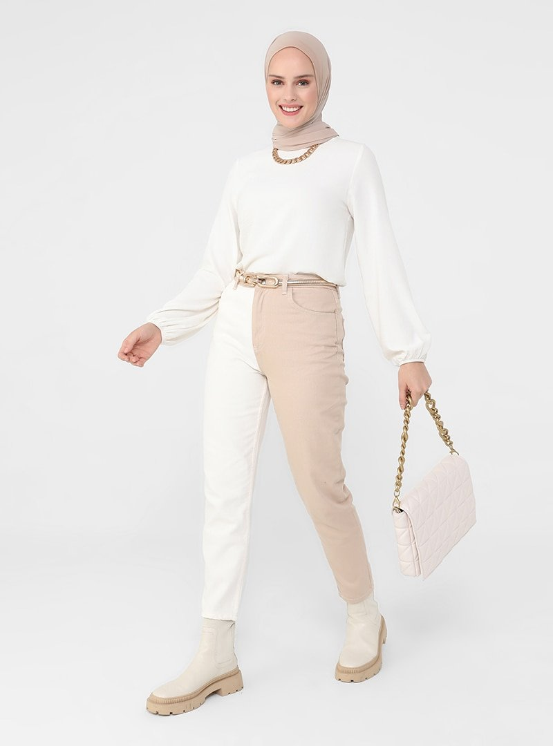 Refka Off White Bej Doğal Kumaşlı İki Renkli Kot Pantolon