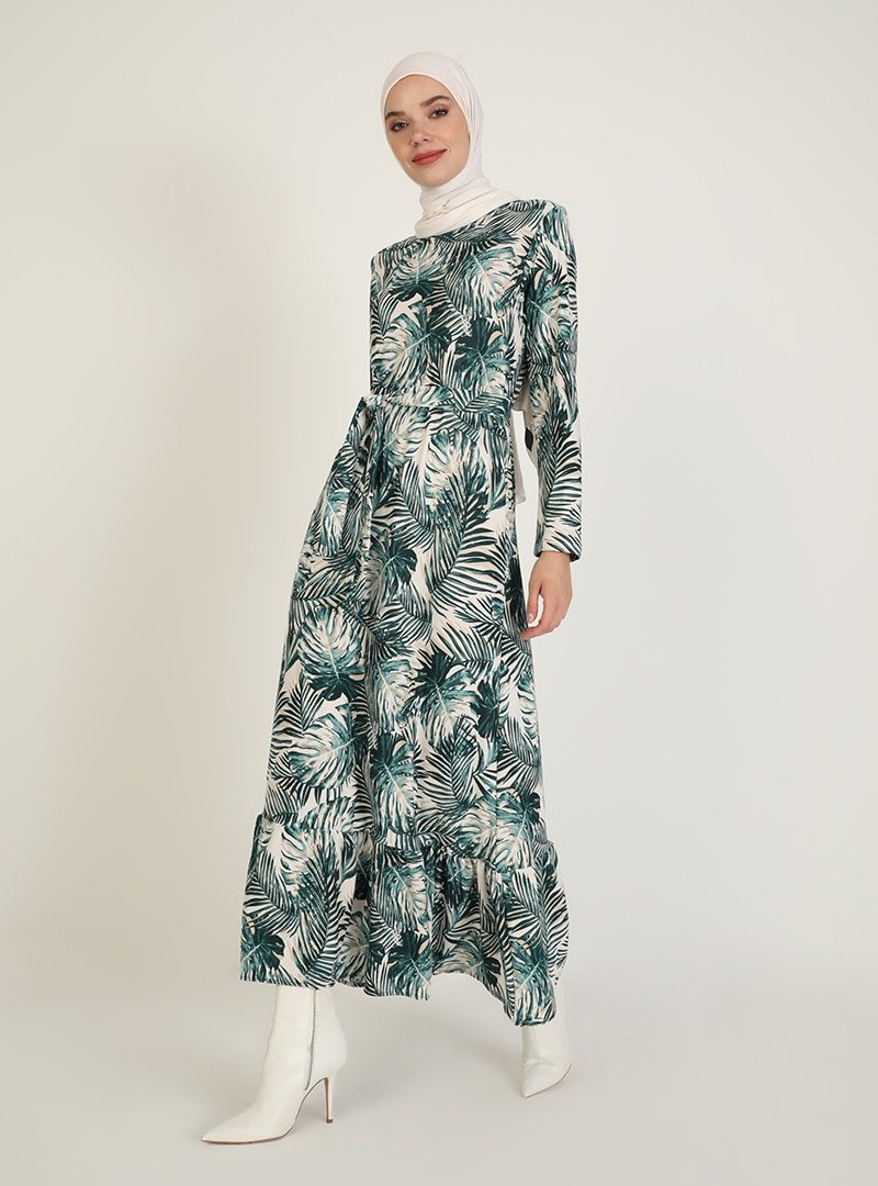 ECESUN Yeşil Desenli Elbise