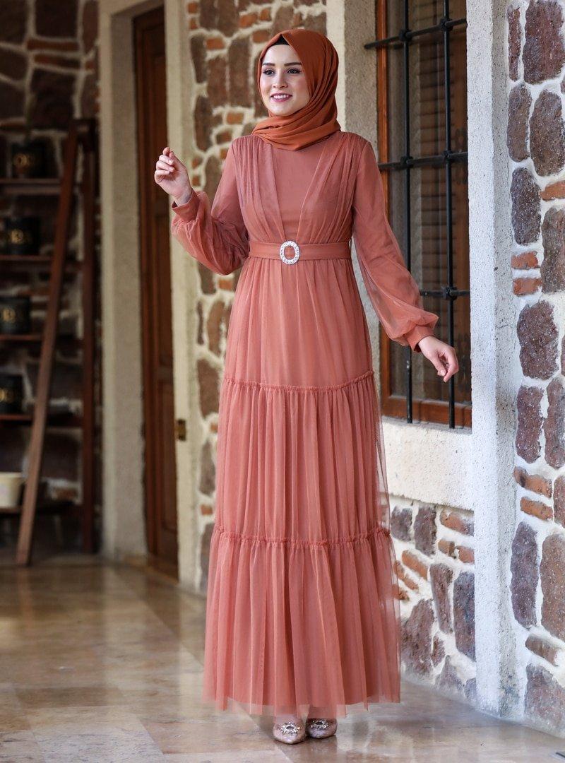 Amine Hüma Tarçın Soft Abiye Elbise