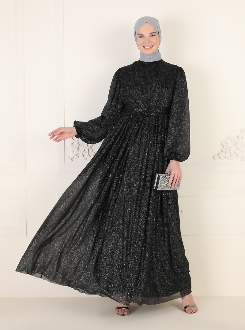 MEKSİLA Siyah Simli Tül Detaylı Abiye Elbise