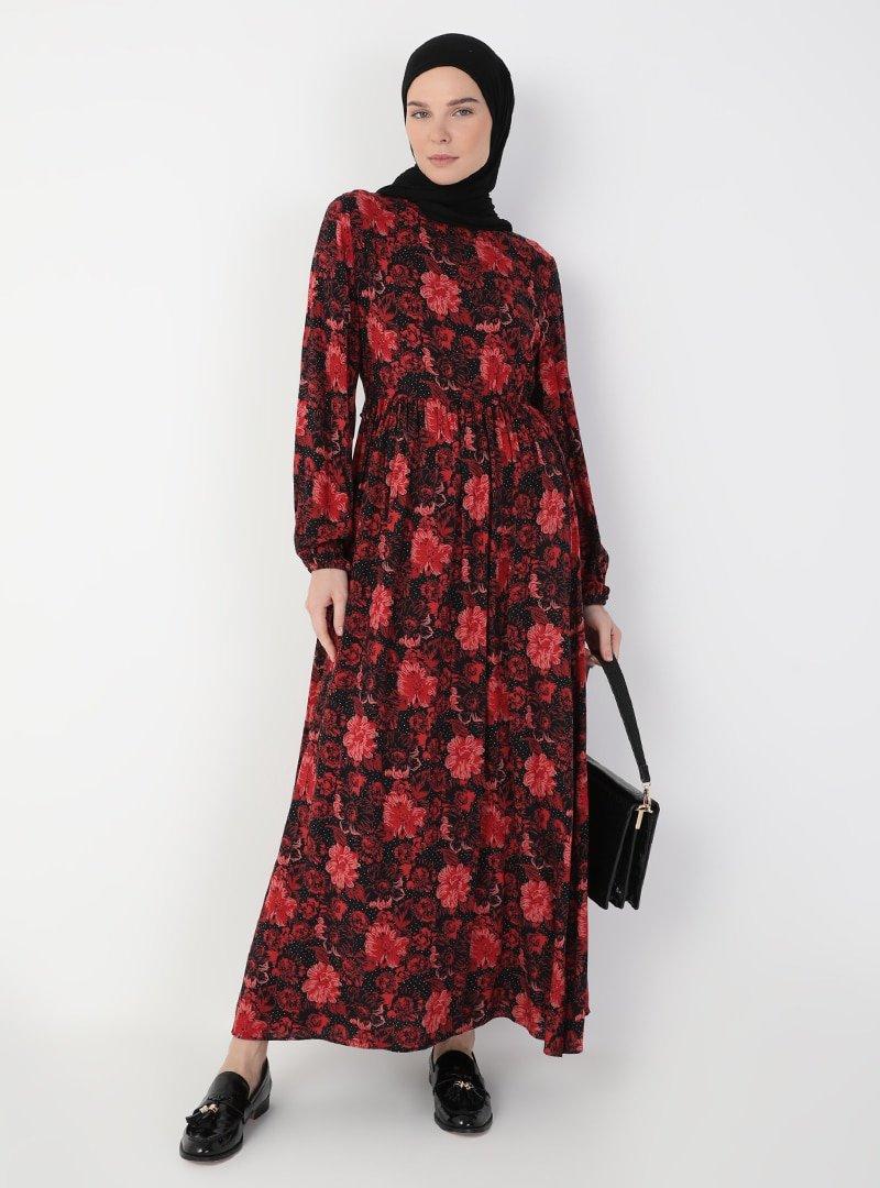 Ziwoman Siyah Desenli Elbise