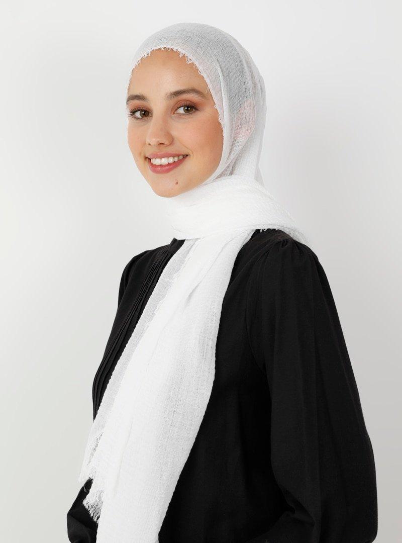 Balse Eşarp Beyaz Bürümcük Şal