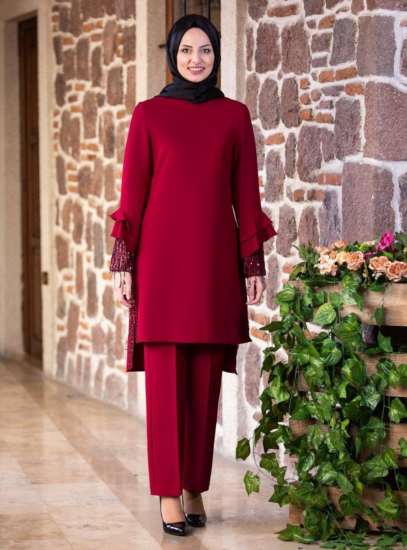 Fashion Showcase Design Bordo Volan Kol Payet Detay Tunik & Pantolon İkili Abiye Takım