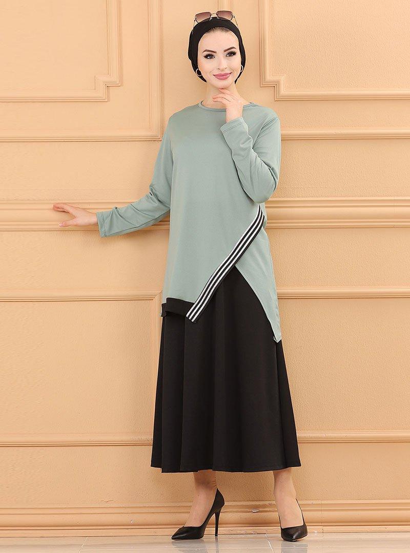 Tofisa Mint Yeşili Bluz & Etek İkili Takım