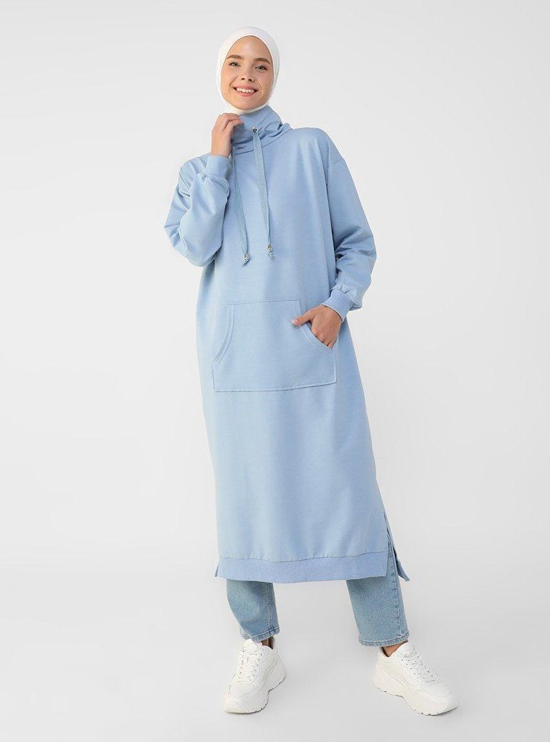 Refka Derin Mavi Boğazlı Yaka Cepli Sweatshirt