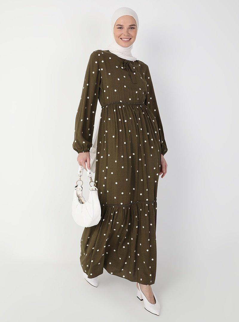 Ziwoman Haki Desenli Elbise