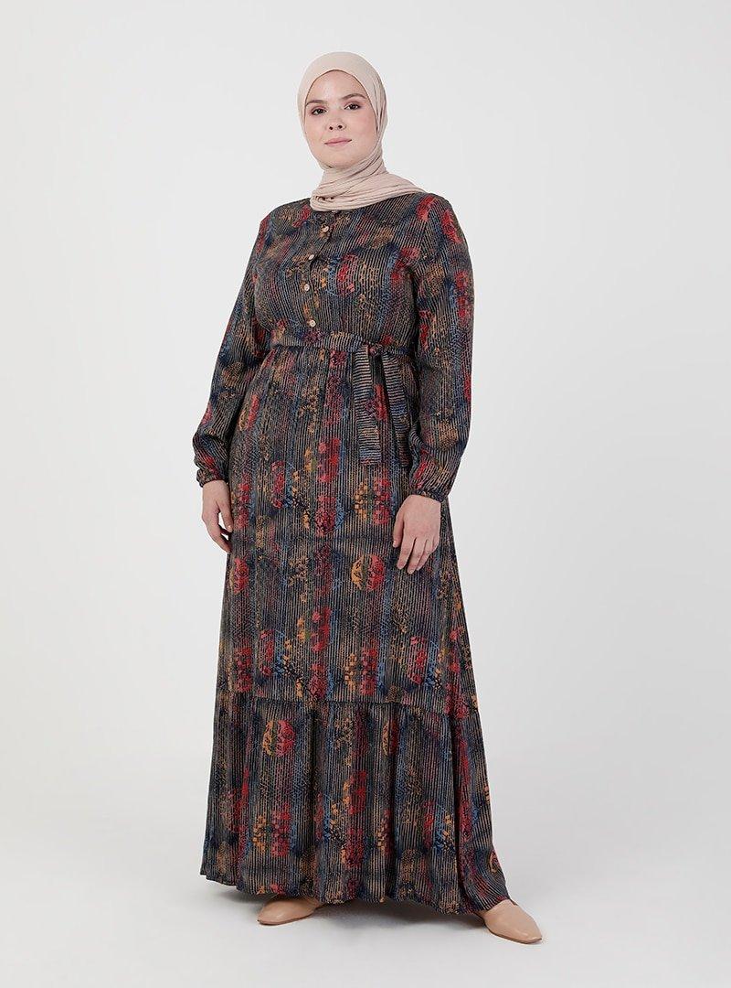 ZENANE Lacivert Beli Lastikli Desenli Elbise