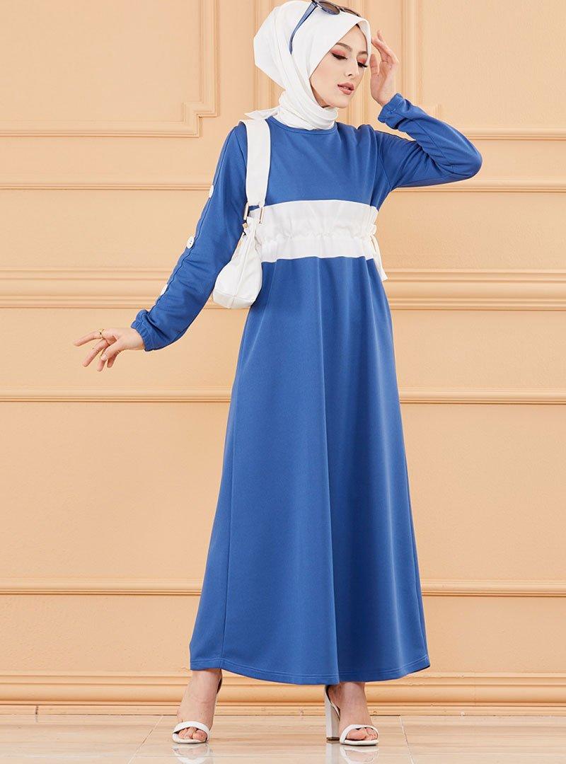 Tofisa Saks Mavisi Beli Büzgülü Elbise