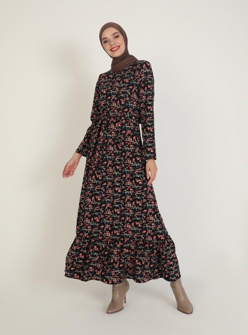 ECESUN Siyah Mavi Desenli Elbise