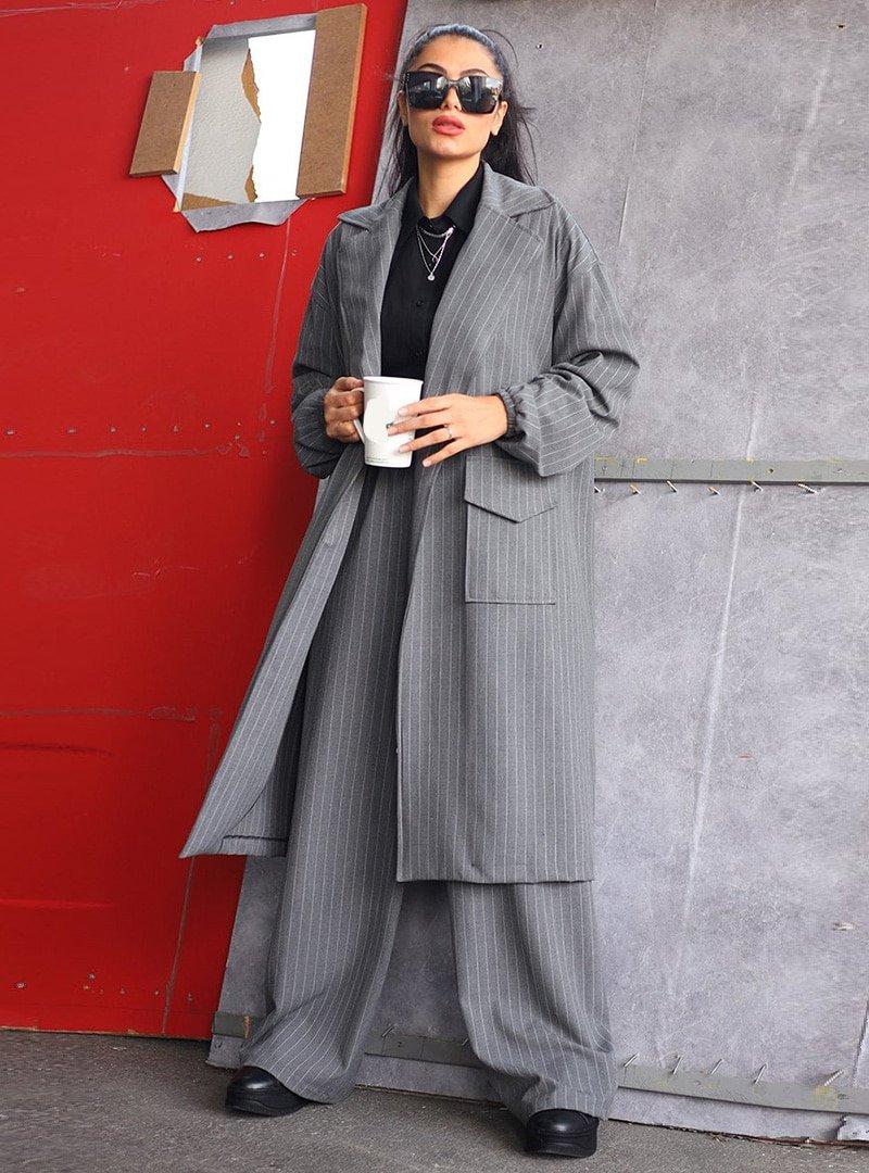 Ceylan Otantik Gri Çizgili Ceket & Pantolon İkili Takım