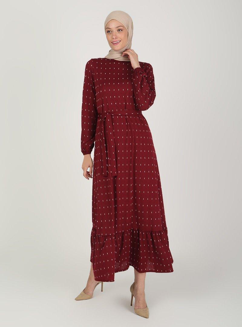 ECESUN Bordo Kol Uçları Lastikli Elbise