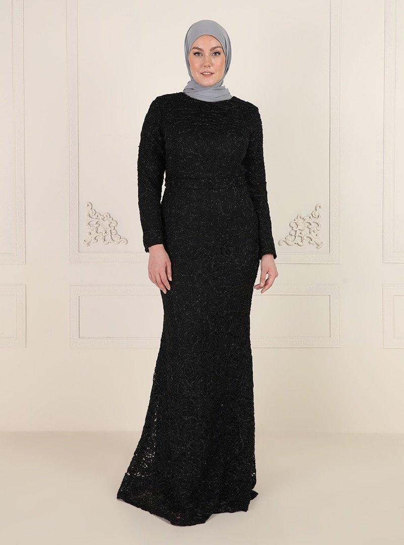 Mileny Siyah Dantel Detaylı Abiye Elbise