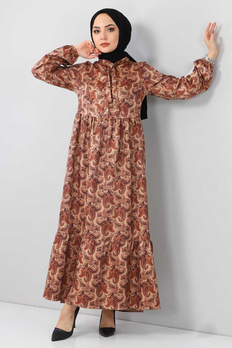 Tesettür Dünyası Vizon Şal Desenli Elbise