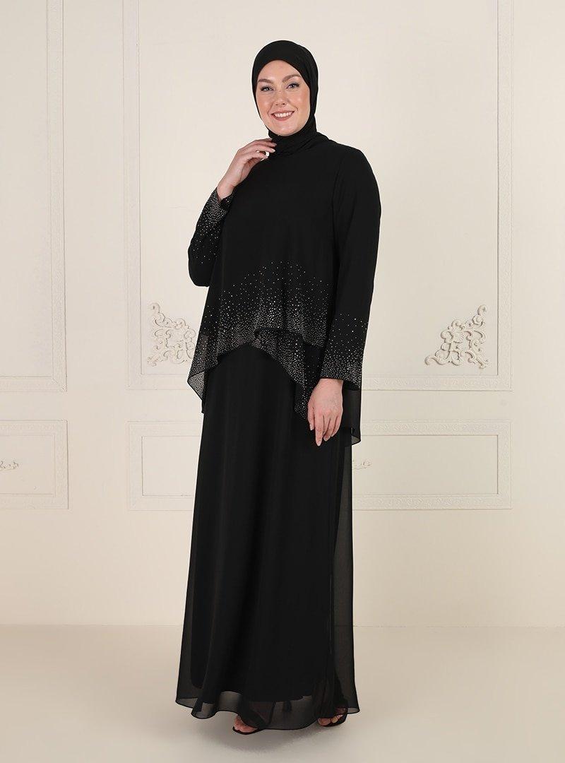 Sevdem Abiye Siyah Taş Detaylı Abiye Elbise