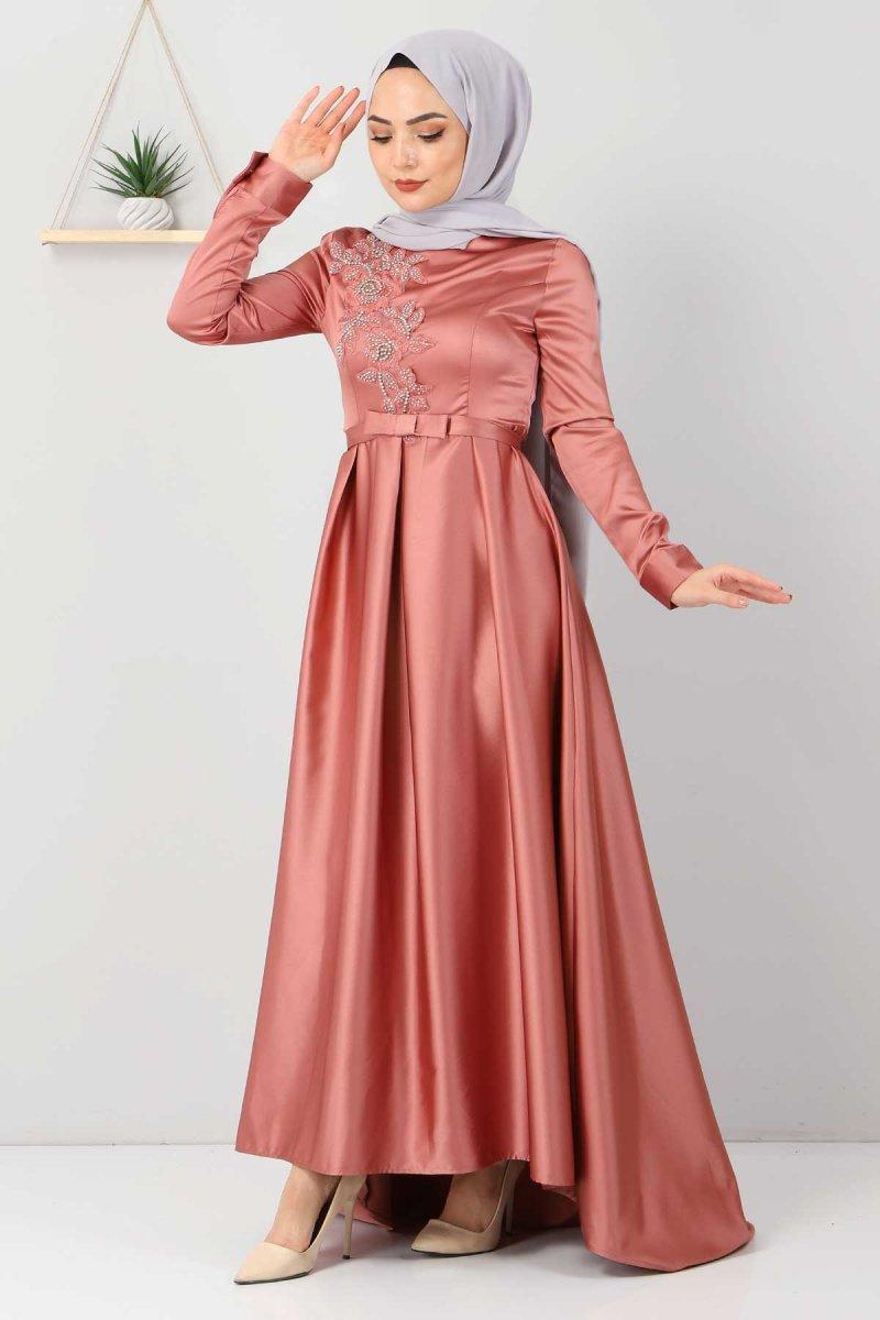 Tesettür Dünyası Somon Taş Detaylı Saten Abiye Elbise