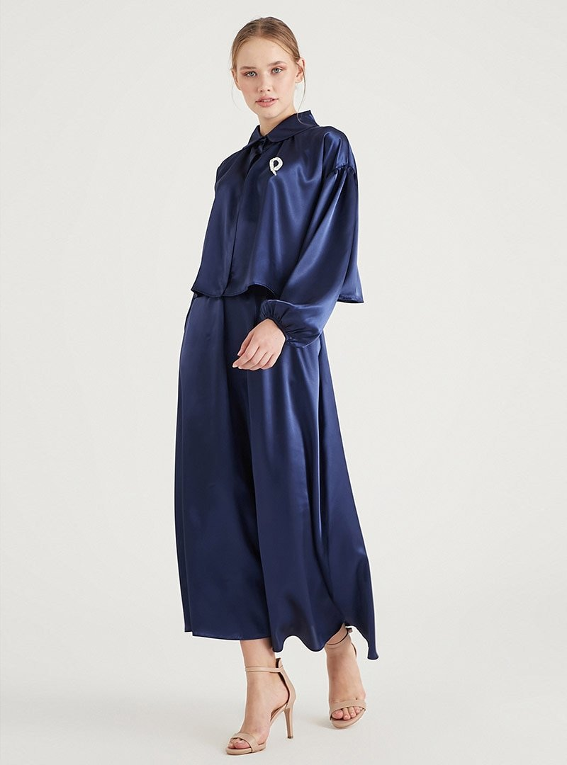 Birgül Bektaş Gece Mavisi Luna Bluz & Etek İkili Abiye Elbise Takım