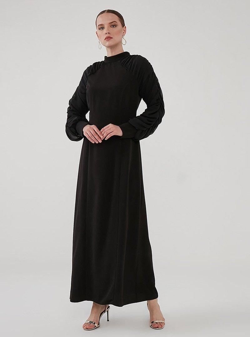 Birgül Bektaş Siyah Milan Abiye Elbise