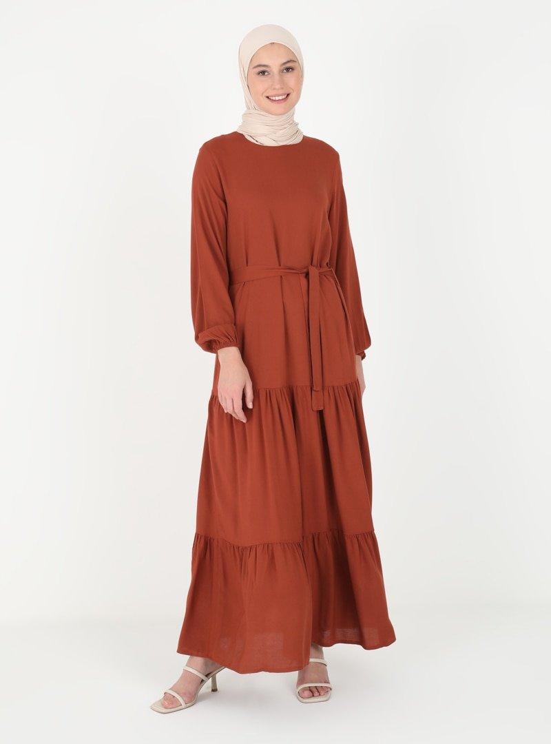Sevit-Li Kiremit Kol Uçları Lastikli Elbise