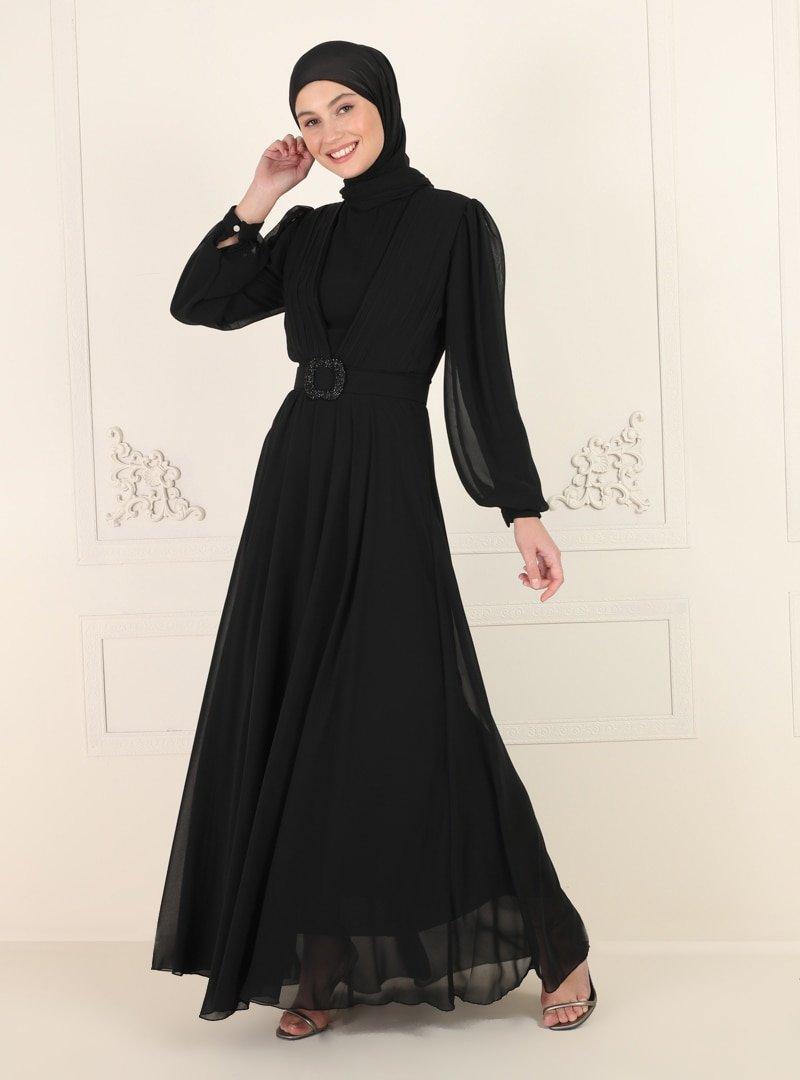 Amine Hüma Siyah Kemer Detaylı Abiye Elbise