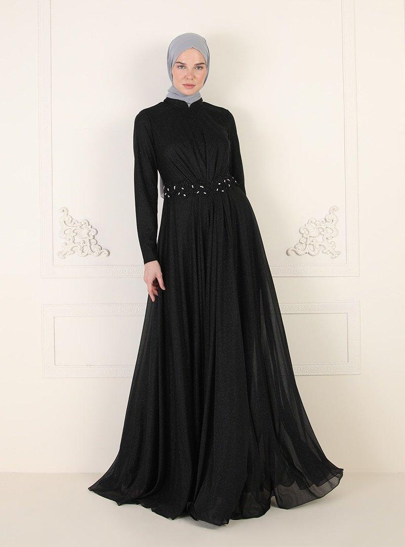 ENSANUR MODA Siyah Sim Detaylı Abiye Elbise