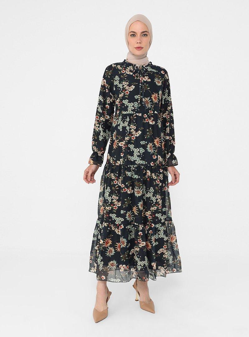 Refka Yeşil Lacivert Yakası Bağlamalı Rahat Kesim Şifon Elbise