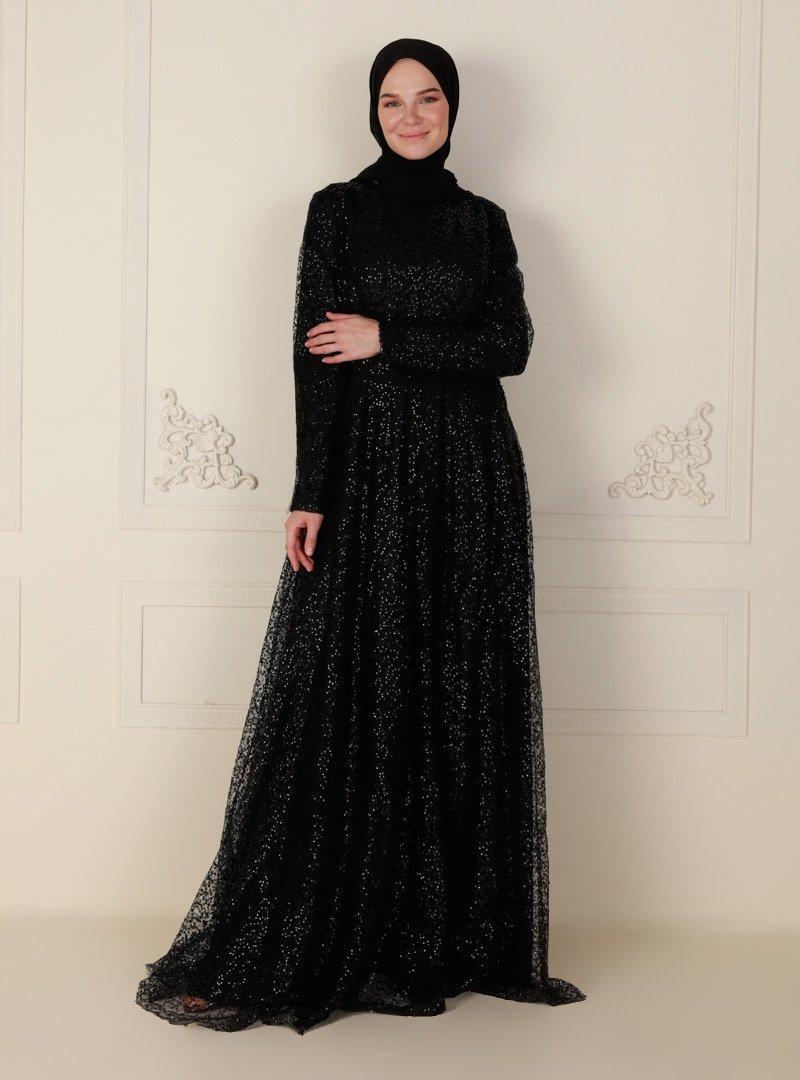 Mileny Siyah Simli Uzun Abiye Elbise