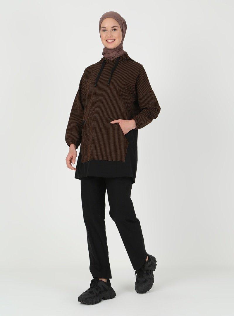 İLMEK TRİKO Kahverengi Tunik & Pantolon İkili Takım