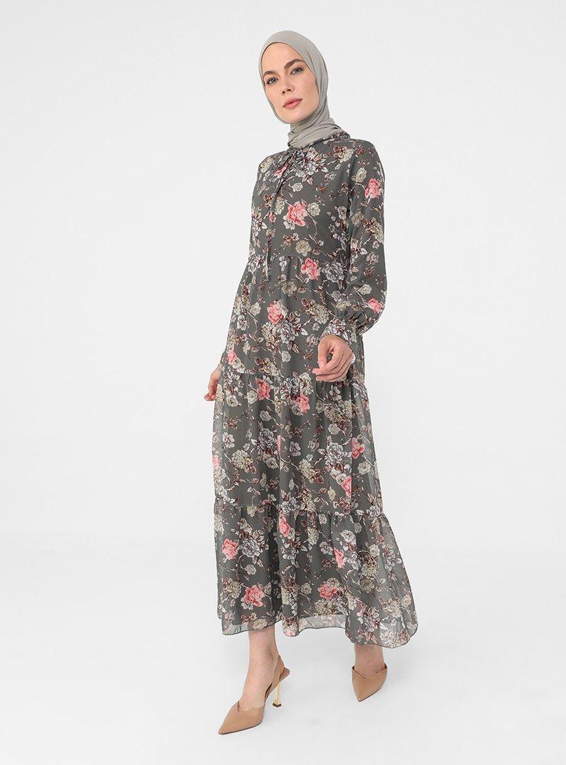 Refka Yeşil Somon Yakası Bağlamalı Rahat Kesim Şifon Elbise