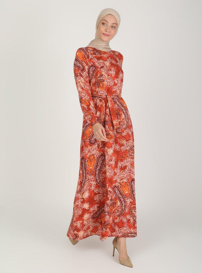 ECESUN Kiremit Desenli Elbise