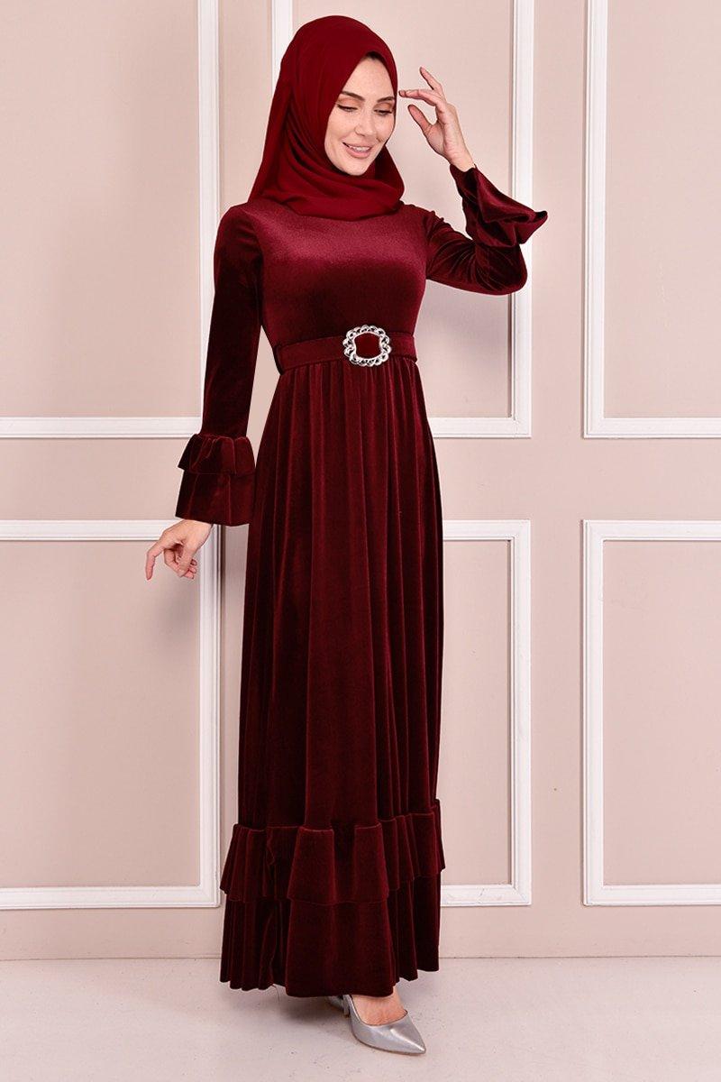 Moda Merve Bordo Kemerli Kadife Elbise