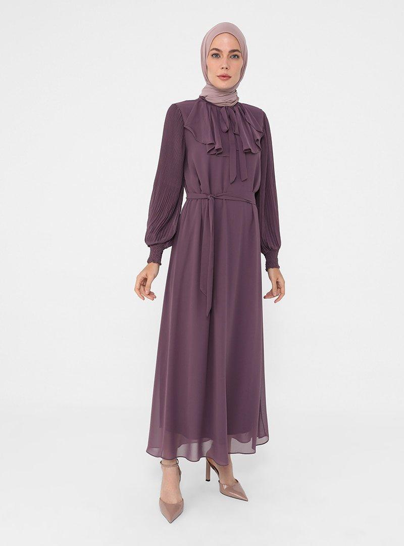 Refka Koyu Lila Pilise Ve Bağlama Detaylı Şifon Şık Elbise