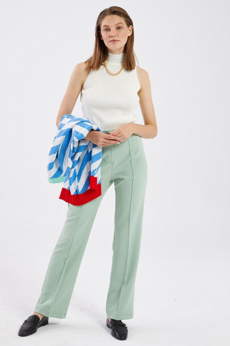 Hooopstore Mint Yeşili Ütü İzli Pantolon