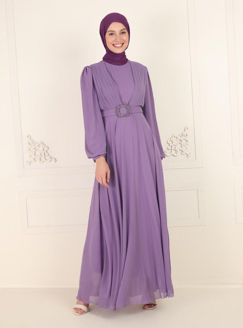 Amine Hüma Lila Kemer Detaylı Abiye Elbise