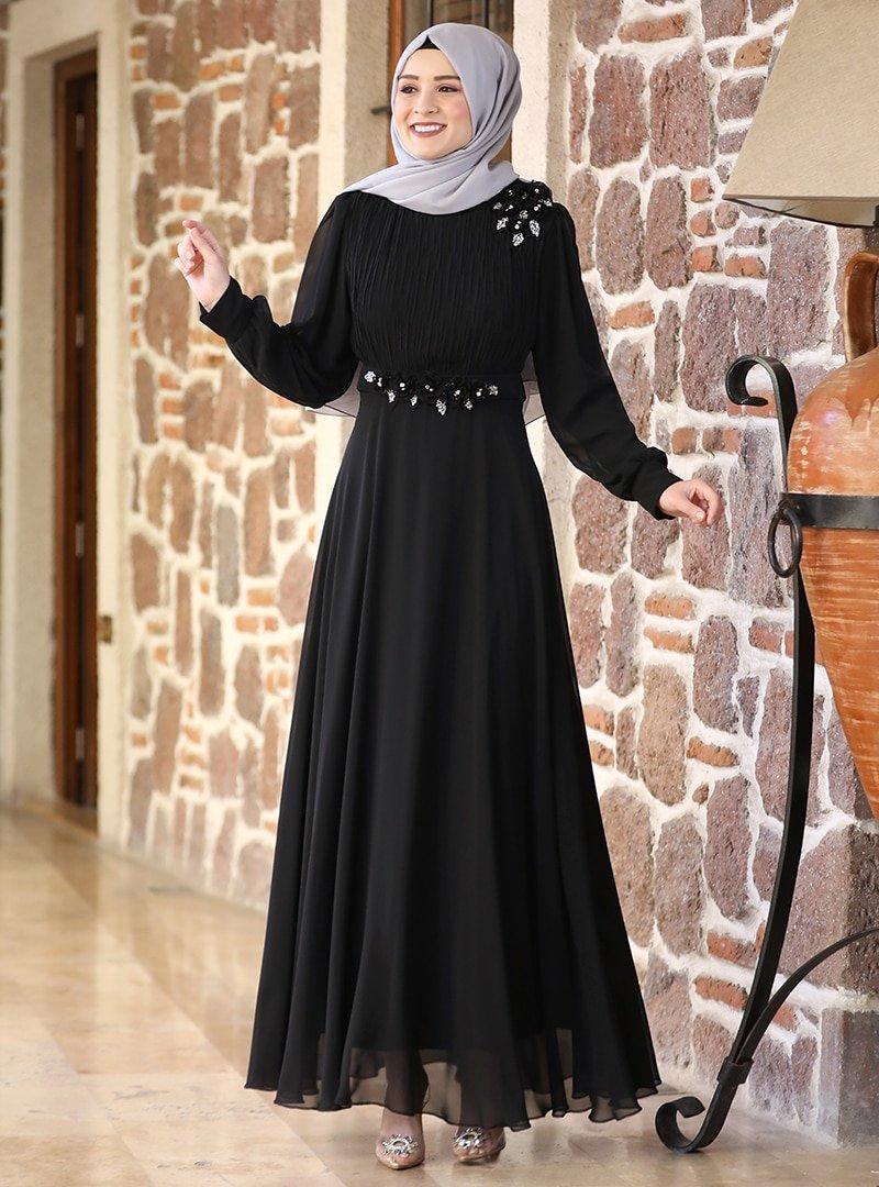 Amine Hüma Siyah Defne Abiye Elbise