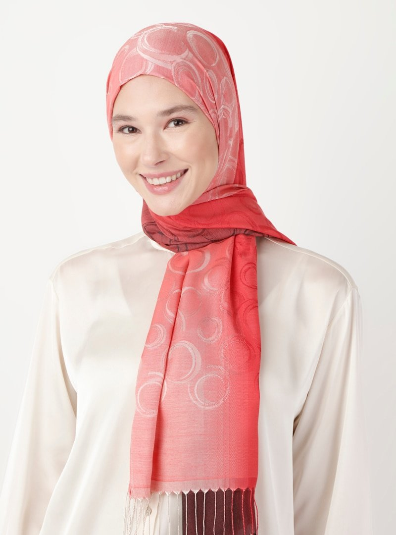 Soft Scarfs Kırmızı Bordo Batikli Şal