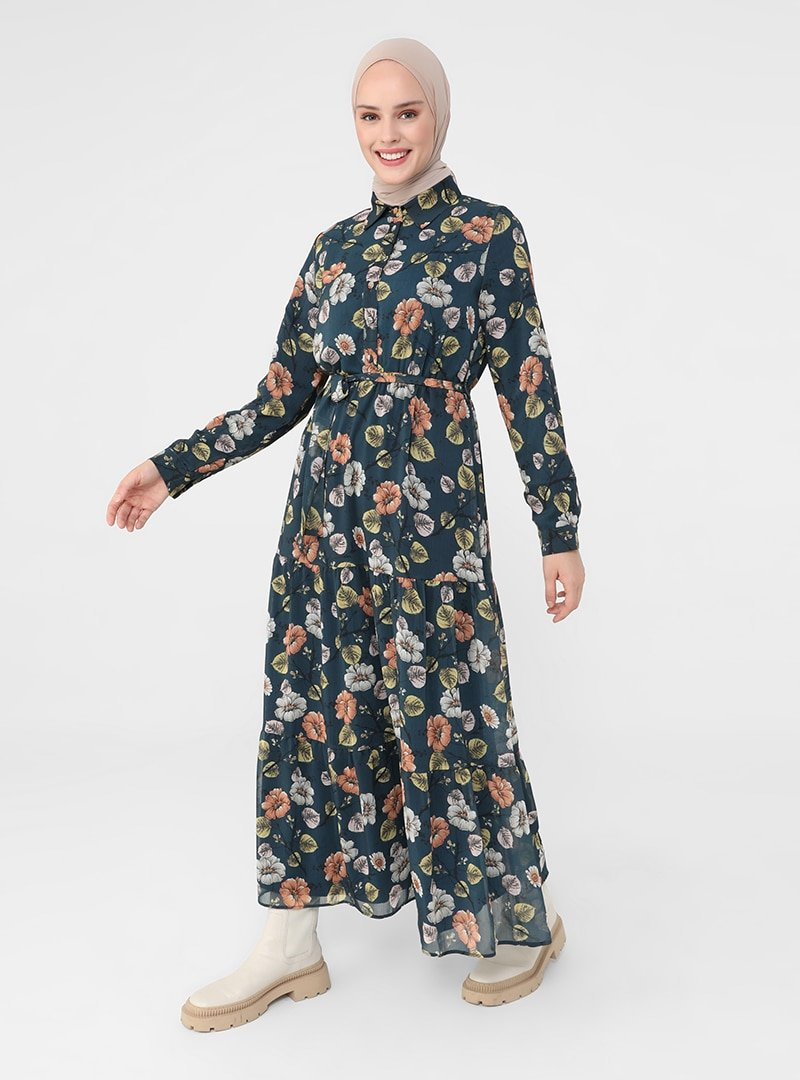 Refka Petrol Astarlı Çiçek Desenli Elbise