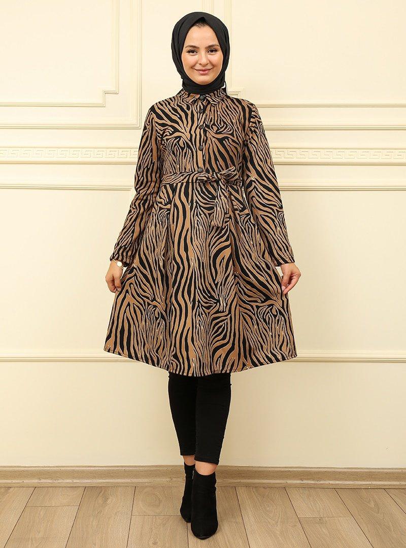 Moda Dua Vizon Zebra Desenli Tunik