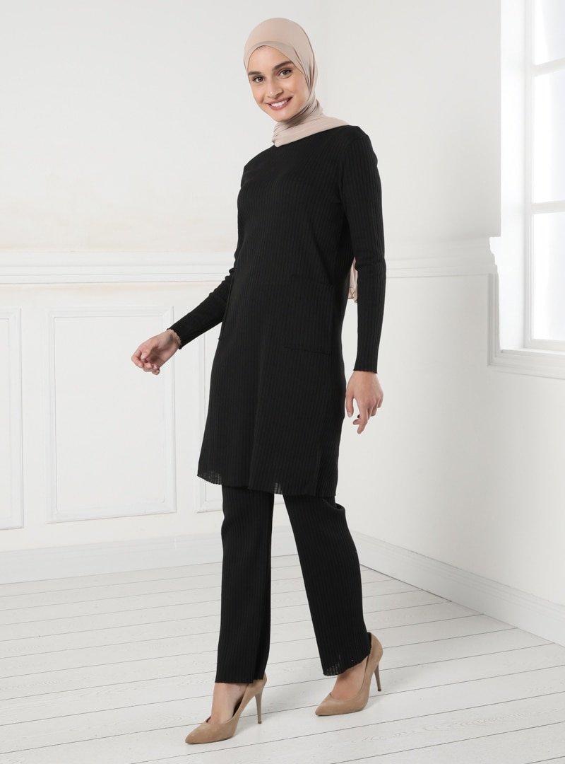 Tavin Siyah Doğal Esnek Kumaş Beli Lastikli Pantolon