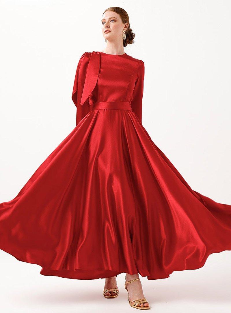 Birgül Bektaş Kırmızı Vera Abiye Elbise