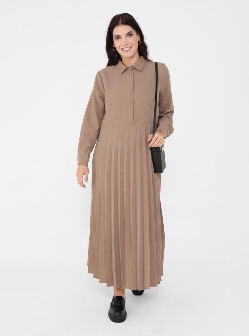 Alia Latte Büyük Beden Piliseli Elbise