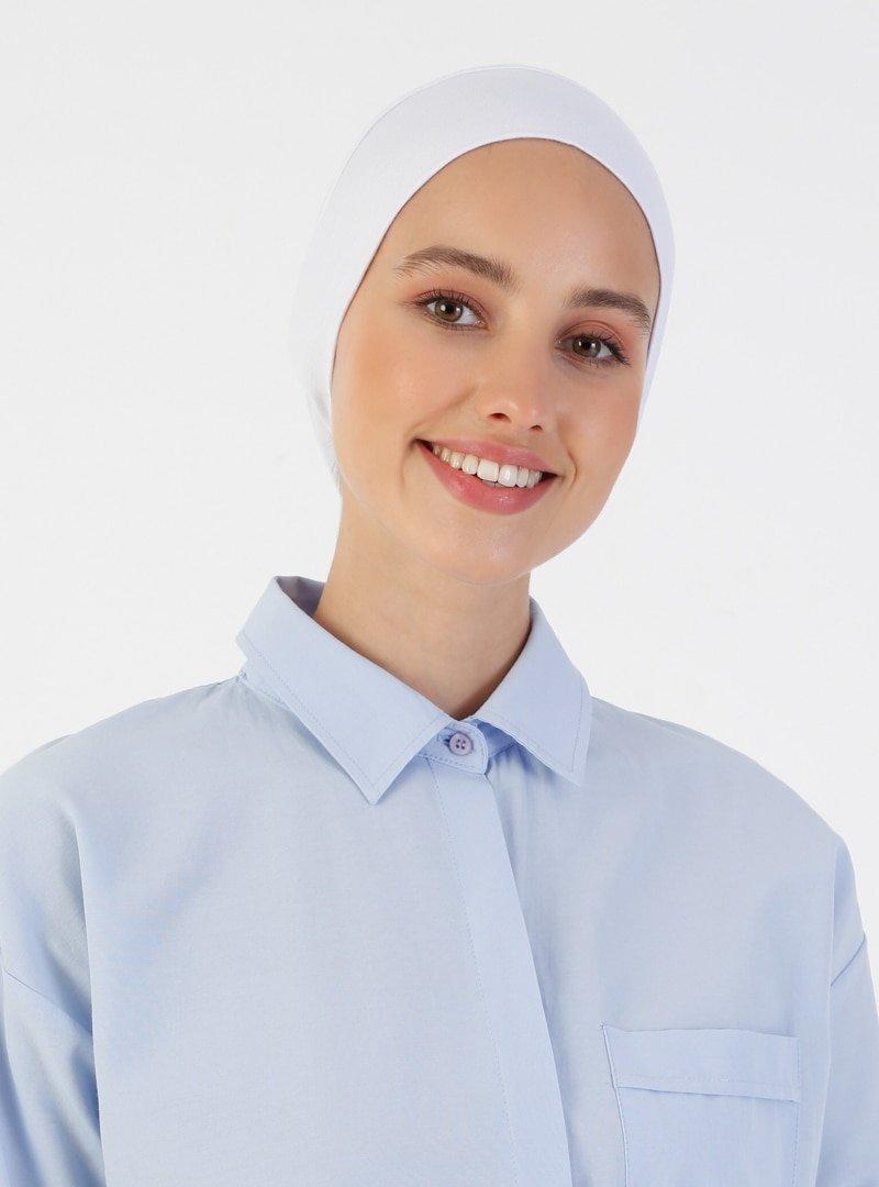 Ecardin Beyaz Penye Geniş Ebatlı Geçme Bone