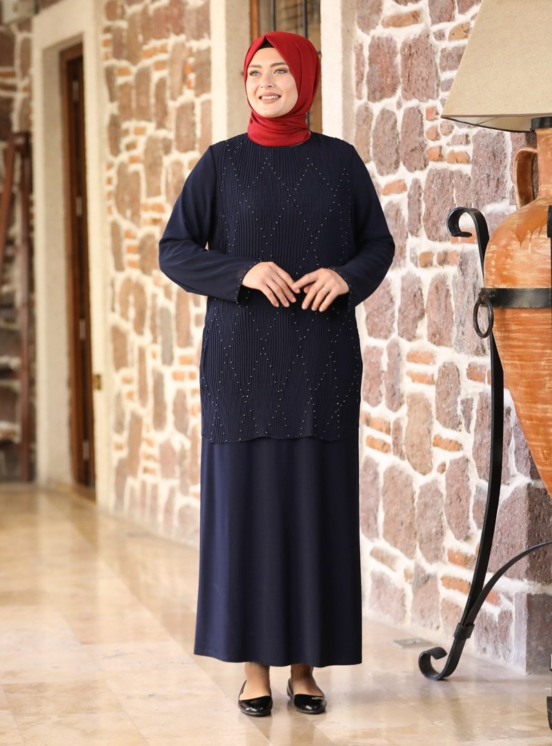 Amine Hüma Lacivert Asil Abiye Elbise