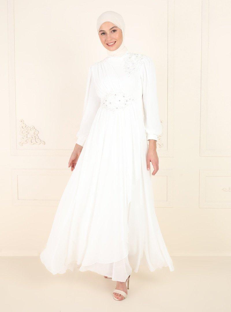 Amine Hüma Ekru Boncuk Detaylı Abiye Elbise